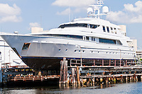 Yacht being repaired in a Miami Marina and Shipyard