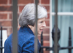 © Licensed to London News Pictures. 09/07/2018. London, UK. Prime Minister Theresa May is seen arriving at the back of Downing Street after the resignation of David Davis as Brexit Secretary. Photo credit: Peter Macdiarmid/LNP