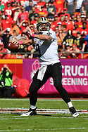 KANSAS CITY, MO - OCTOBER 23: Quarterback Drew Brees #9 of the New Orleans Saints throws a pass against the Kansas City Chiefs at Arrowhead Stadium during the first quarter of the game on October 23, 2016 in Kansas City, Missouri. (Photo by Peter Aiken/Getty Images)