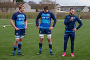 Scottish Rugby Forwards Grant Gilchrist & Jonny Gray with Winger Tommy Seymour during the training session and press conference for Scotland Rugby at Clydebank Community Sports Hub, Clydebank, Scotland on 13 February 2019.