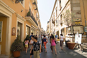 Corso Umberto, the main tourist street in Taormina, sicily, Italy, July 2006
