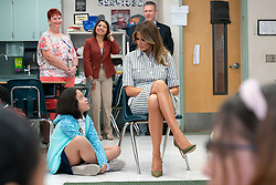 March 28, 2019 - Palm Beach, Florida, U.S. - First Lady Melania Trump visits with students in a 5th grade classroom Thursday, March 28, 2019, at West Gate Elementary School in West Palm Beach (Credit Image: ? White House via ZUMA Wire/ZUMAPRESS.com)