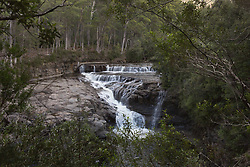 Waterfall on the Lees Paddock Track near the Cradle Mountain Lake St Clair National Park