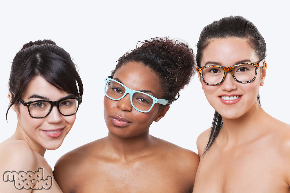 Beauty portrait of young multi-ethnic women wearing glasses over white background