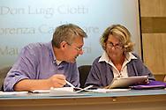Roma 8 Settembre 2013<br /> Assemblea  in difesa della Costituzione.<br /> Maurizio Landini, segretario generale Fiom-Cgil, Sandra Bonsanti, Libert&agrave; e Giustizia
