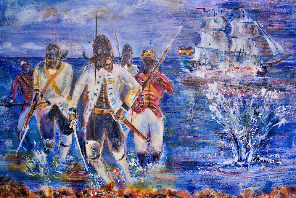 Spanish Attack Mural at Fort George Ruins in George Town, Grand Cayman<br />