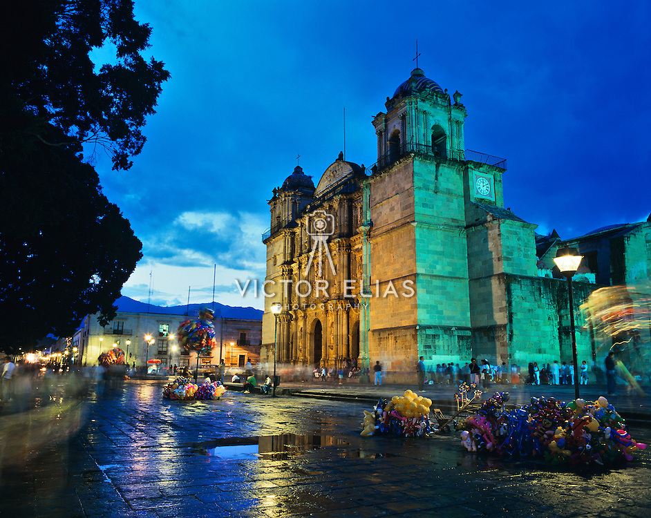 Night view exterior of cathedral in Oaxaca, Mexico.
