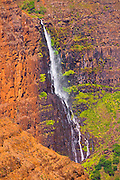 Waterfall in Waimea Canyon, Waimea Canyon State Park, Island of Kauai, Hawaii