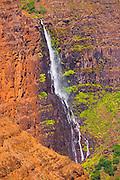 Waterfall in Waimea Canyon, Waimea Canyon State Park, Island of Kauai, Hawaii