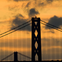 Golden Gate Bridge and Oakland Bay Bridge Together Silhoutted