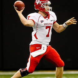 November 10, 2011; New Orleans, LA, USA; Houston Cougars quarterback Case Keenum (7) throws a pass against the Tulane Green Wave during the second quarter at the Mercedes-Benz Superdome.  Mandatory Credit: Derick E. Hingle-US PRESSWIRE