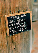 Daily exchange rate at L?Elephant restaurant.