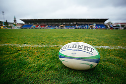 ball during rugby match between National team of Slovenia (green-blue) and Luxemburg (blue-white) at EUROPEAN NATIONS CUP 2014-2016 of C group 2nd division, on April 18, 2015, at ZAK Stadium, Ljubljana, Slovenia. (Photo by Matic Klansek Velej / Sportida.com)