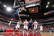 LOUISVILLE, KY - JANUARY 25: James Bell #32 of the Villanova Wildcats dunks on a fast break against the Louisville Cardinals during their game at KFC Yum! Center on January 25, 2012 in Louisville, Kentucky. (Photo by Joe Robbins)