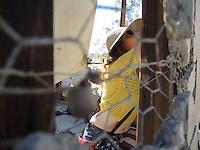 "High Desert Test Sites 2013, Eames Demetrios, ""Kcymaerxthaere Story Telling"" visitors writing stories on the wall, Krblin Jihn Cabin in Joshua Tree"