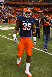 Oct 21, 2011; Syracuse NY, USA;  Syracuse Orange linebacker Dyshawn Davis (35) on the field after the game against the West Virginia Mountaineers at the Carrier Dome.  Syracuse defeated West Virginia 49-23. Mandatory Credit: Jason O. Watson-US PRESSWIRE