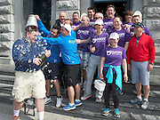 """The cast and crew who after walking 108 miles from Donegal to Galway for Ronnie Whelan's """"Myaware.ie Annual Walk"""" in aid of Myasthenia, arrived to Hotel Meyrick in Galway city centre where Love/Hate's Elmo Laurence Kinlan and Danny O'Carroll who drenched Paul Brennan with an ice bucket  . Photo:Andrew Downes"""