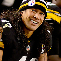 Pittsburgh Steelers strong safety Troy Polamalu (43) smiles on the bench during the second quarter  against the Chicago Bears at Heinz Field in Pittsburgh on September 22, 2013.  UPI/Archie Carpenter