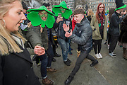 The Irish dancining starts in Trafalgar Square -  the London St Patrick's Day parade from Piccadilly to Trafalgar Square.