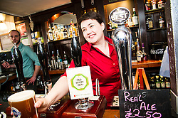 Pictured: <br /> <br /> The Scottish Conservative leader Ruth Davidson viisted the Raeburn Bar in Edinburgh today to have a word with&nbsp;voters.  The Scottish Conservative leader also spoke with staff at the Raeburn Bar in Stockbridge. <br /> <br /> Ger Harley | EEm 27 April 2016