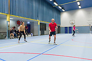 Nederland, Den Bosch, 20171031.<br /> Badmintonclub Hertogstad<br /> Speelavond voor de leden van de club<br /> <br /> Netherlands, Den Bosch, 20171031.
