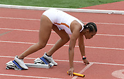 Apr 20, 2019; Torrance, CA, USA; Dior Hall in the starting blocks of the Southern California Trojans women's 4 x 100m relay that won in 42.93 during the 61st Mt. San Antonio College Relays at El Camino College.