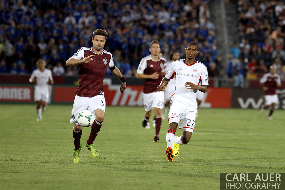 July 17th, 2013 - Colorado Rapids defender Drew Moor (3) attempts to out run New England Revolution forward Jerry Bengtson (27) in the second half of action in the Major League Soccer match between the New England Revolution and the Colorado Rapids at Dick's Sporting Goods Park in Commerce City, CO