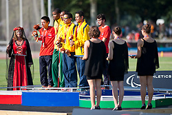 SANTOS Odair Guide: SANTOS Carlos, SOSA William Guide: CHAVARRO DIAZ Cesar, VALENZUELA Cristian Guide: JARAMILLO Lucas, BRA, COL, CHI, 1500m, T11, Podium, 2013 IPC Athletics World Championships, Lyon, France