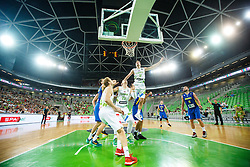 Zoran Dragic, Jaka BLazic and Alen Omic of Slovenia during qualifying match between Slovenia and Kosovo for European basketball championship 2017,  Arena Stozice, Ljubljana on 31th August, Slovenia. Photo by Grega Valancic / Sportida