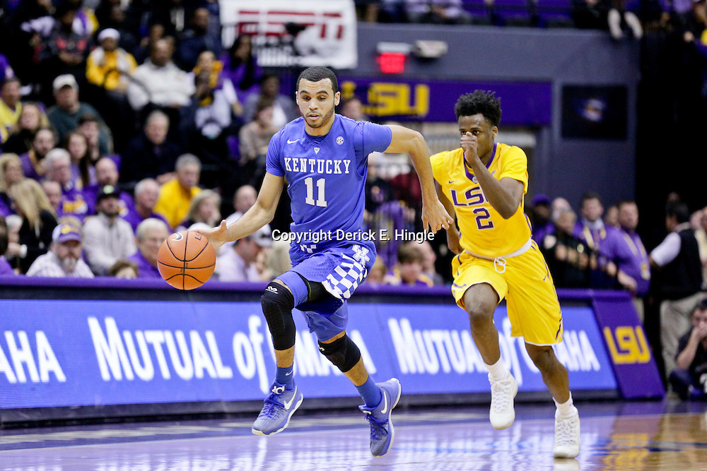 Jan 5, 2016; Baton Rouge, LA, USA; Kentucky Wildcats guard Mychal Mulder (11) drives past LSU Tigers guard Antonio Blakeney (2) during the second half of a game at the Pete Maravich Assembly Center. LSU defeated Kentucky 85-67. Mandatory Credit: Derick E. Hingle-USA TODAY Sports