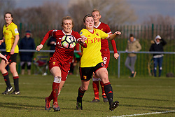 LIVERPOOL, ENGLAND - Sunday, February 4, 2018: Liverpool's Kate Longhurst and Watford's Samantha Hallsworth during the Women's FA Cup 4th Round match between Liverpool FC Ladies and Watford FC Ladies at Walton Hall Park. (Pic by David Rawcliffe/Propaganda)