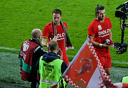 CARDIFF, WALES - Tuesday, October 13, 2015: Wales' Chris Gunter and photographer David Rawcliffe on the pitch after qualifying for the finals following a 2-0 victory over Andorra during the UEFA Euro 2016 qualifying Group B match at the Cardiff City Stadium. (Pic by Paul Currie/Propaganda)