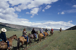 North America, United States, Montana, Boulder River Valley, group horseback riding on trail