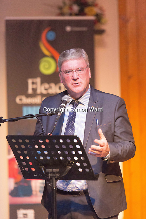 Pat McDonagh, Supermacs speaking at the Fleadh 2016 Fáiltiú at Cois na hAbhanna, Ennis. Photograph by Eamnon Ward