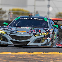 January 06, 2018 - Daytona Beach, Florida, USA:  The Michael Shank Racing Acura NSX GT3 races through the turns at the Roar Before The Rolex 24 at Daytona International Speedway in Daytona Beach, Florida.