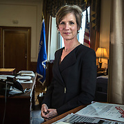 WASHINGTON, DC - MAY15: Deputy Attorney General Sally Yates, in her office at the Justice Department, May 15, 2015, in Washington, DC.  Yates, who was confirmed by the Senate yesterday, is a former career prosecutor from Atlanta. (Photo by Evelyn Hockstein/For The Washington Post)