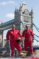 © Licensed to London News Pictures. 23/04/2013. London, England. L-R: Drivers Ashley Mihell and John Cooke from the E-Lites Team. The Venture Cup, the World's longest, toughest and most prestigious powerboat race today announced plans to start its race in London on the Thames in 2014. The Venture Cup Prologue, a test race, will be held from 5-8 June 2013. Photo credit: Bettina Strenske/LNP