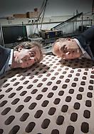 nederland, enschede, 22okt2013 Ysbrand Wijnant (l) en Eric de Vries (r)van 4Silence ontwikkelaars van geluiddempend beton