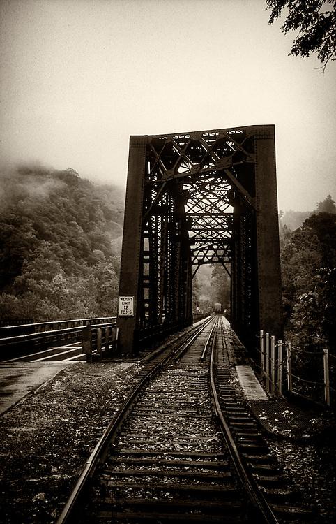 Train bridge in monochrome