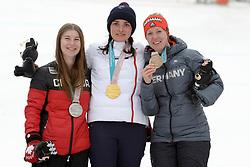 BOCHET_Marie, JESPEN Mollie, ROTHFUSS Andrea, ParaSkiAlpin, Para Alpine Skiing, Slalom, Podium during the PyeongChang2018 Winter Paralympic Games, South Korea.