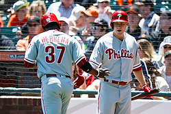 SAN FRANCISCO, CA - JUNE 26: Odubel Herrera #37 of the Philadelphia Phillies is congratulated by Cody Asche #25 after scoring a run against the San Francisco Giants during the first inning at AT&T Park on June 26, 2016 in San Francisco, California.  (Photo by Jason O. Watson/Getty Images) *** Local Caption *** Odubel Herrera; Cody Asche