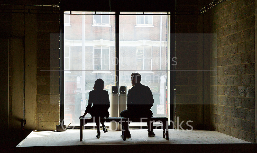 La Musica <br /> Directed by Jeff James<br /> at the Young Vic, London, Great Britain <br /> press photocall <br /> 1st October 2015 <br /> <br /> <br /> <br /> Emily Barclay<br /> Sam Troughton <br /> <br /> <br /> <br /> Photograph by Elliott Franks <br /> Image licensed to Elliott Franks Photography Services