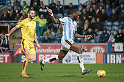 Ishmael Miller (Huddersfield Town) through on goal and scores the second for Huddersfield during the Sky Bet Championship match between Huddersfield Town and Rotherham United at the John Smiths Stadium, Huddersfield, England on 15 December 2015. Photo by Mark P Doherty.