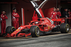 March 1, 2018 - Barcelona, Catalonia, Spain - SEBASTIAN VETTEL (GER) in his Ferrari SF-71H at the pit stop at day four of Formula One testing at Circuit de Catalunya. (Credit Image: © Matthias Oesterle via ZUMA Wire)