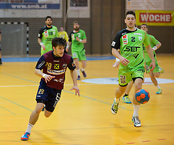 09.12.2014, Sporthalle, Leoben, AUT, OeHB-Cup Achtelfinale, Union JURI Leoben vs SG INSIGNIS Handball West Wien, im Bild Thomas Paul Wulz (Leoben), Alexander Hermann (West Wien) // durning the OeHB-Cup, Round of the last sixteen, between, Union JURI Leoben vs SG INSIGNIS Handball West Wien at the Sport Hall, Leoben, Austria on 2014/12/09, EXPA Pictures © 2014, PhotoCredit: EXPA/ Dominik Angerer