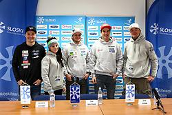 Rok Marguc, Gloria Kotnik, Tim Mastnak, Zan Kosir and Izidor Sustersic at press conference of Slovenian Snowboard Team on January 4, 2019 in SZS, Ljubljana, Slovenia. Photo by Matic Klansek Velej / Sportida