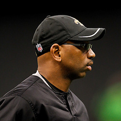 January 1, 2012; New Orleans, LA, USA; New Orleans Saints wide receivers coach Curtis Johnson prior to kickoff of a game against the Carolina Panthers at the Mercedes-Benz Superdome. Mandatory Credit: Derick E. Hingle-US PRESSWIRE