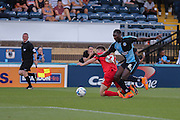Reece Thompson is fouled during the Sky Bet League 2 match between Wycombe Wanderers and York City at Adams Park, High Wycombe, England on 8 August 2015. Photo by Simon Davies.