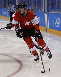 February 18, 2018 - Pyeongchang, KOREA - Switzerland defenseman Nicole Gass (8) in a hockey game between Switzerland and Korea during the Pyeongchang 2018 Olympic Winter Games at Kwandong Hockey Centre. Switzerland beat Korea 2-0. (Credit Image: © David McIntyre via ZUMA Wire)
