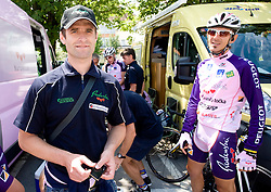 Andrej Hauptman and Mitja Mahoric  (SLO) of Radenska KD Financial point before start of the 4th stage of Tour de Slovenie 2009 from Sentjernej to Novo mesto, 153 km, on June 21 2009, Slovenia. (Photo by Vid Ponikvar / Sportida)
